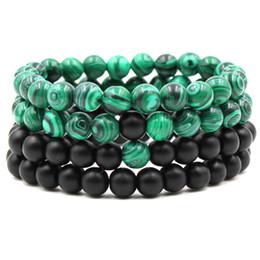 Wholesale Synthetic Leather For Bracelets - Hot 8mm black matte malachite couple bracelet femme bracelets for women Synthetic Stone Length 19.5cm Bracelet AL-XD20