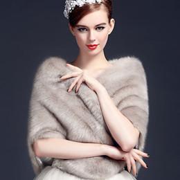 Wholesale Grey Fur Bolero - Latest Grey Bolero Fourrure Blanc 2018 Faux Fox Fur Wraps For Wedding Evening Party Shawls Capes Shrug Jacket Winter Wedding Warm Coat