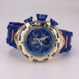 07aa9baf285 Big dial Invicta Relogio Bolt Zeus Dourado Azul Na Caixa Sports Calendar  date quartz mens watches Rubber Silicone strap wristwatches discount bulova