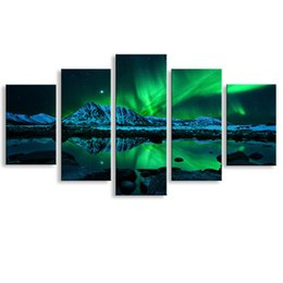 Wholesale floral picture frames - 5 pieces high-definition print Northern Lights canvas oil painting poster and wall art living room picture PL5-097