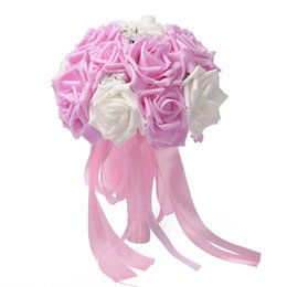 2019 fã de ouro rosa Artesanal de Espuma Artificial Flor de Rosa Flores Decoração de Casamento Para O Arranjo de Casamento Bouquets De Noiva Buquê De Casamento