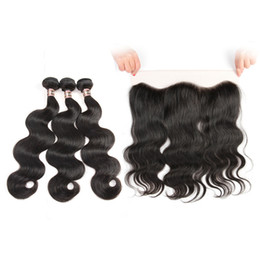 Wholesale Human Body Ears - Ear to Ear Lace Frontal Closure With 3 Bundles Brazilian Virgin Hair Weaves Indian Human Hair Closures body wave