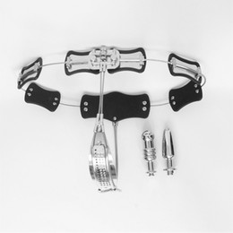 Wholesale Steel Chastity Belts For Females - 2018 New Arrival Female Chastity Belt Stainless Steel Enforcer Chastity Device With Vaginal Plug Anal Plug Underwear BDSM Sex Toy For Women