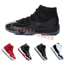 Wholesale Navy Blue Stars - 11 Prom Night XI Cap and Gown 11s Gym Red PRM Heiress Midnight Navy women Mens Basketball Shoes Bred Space Jam Sport Sneakers