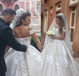Laço do vintage Vestidos de Casamento Árabe A Linha Fora Do Ombro Sauditas Vestidos de Noiva Lace Up Voltar Longo Formal Retro Vestidos De Casamento de