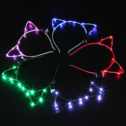 Wholesale metal cat decoration - Cat Ear Design LED Light Headband For Birthday Wedding Party Masquerade Decorations Cute Hair Hoop Accessories May Colors 5yk BZ
