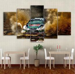 Cuadros frescos pintados online-Cartel grande HD Impreso Pintura 5 Panel Cool Car Landscape Impresión de la Lona Arte Home Decor Wall Pictures For Living Room