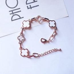 Bracelet trèfle diamant en Ligne-Bracelets en forme de trèfle à quatre feuilles Bracelets porte-bonheur Bijoux à incrustation de diamants perlés avec boîte exquise Populaire auprès des filles comme