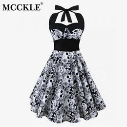embelleció los vestidos largos moldeados de la manga Rebajas MCCKLE Mujeres Halter Plus Size Vestido casual sin mangas Cráneo de la vendimia Impreso Floral Vestido 2018 Mujeres atractivas de verano Vestidos
