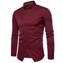 2019 camisa formal colar desenhos Atacado inverno outono base de negócios noite formal Gola Aberta garfo estilista design de manga comprida camisa masculina homens causal camisas camisa formal colar desenhos barato