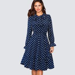a30416d4ab 100% Polyester 1950s Retro Vintage Polka Dot Swing Skater Party Dress  Elegant Long Sleeve Business Office Lady Dress HA130