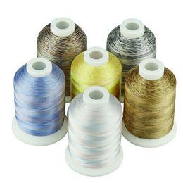2019 lace stoff geschenk taschen Simthread 6 Multi-Colors-Stickgarn für Maschinen- / Handstickerei-Quilting-Nähgarn auf jeder Heimmaschine