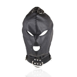 Wholesale Toys For Slaves - Top Quality Sex Toys Sex Hood Mask Bdsm Bondage Cap Pu Leather Eye Mask Slave Open Mouth And Eye Hood Toys For Adult Head Gear Products