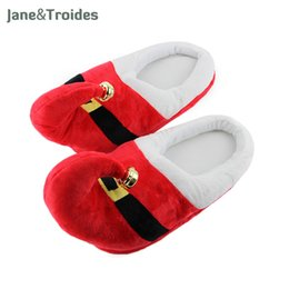 Wholesale bell shoes - Winter Christmas Slippers With Bell For Women Men Children Plush Thicken Floor Flip Flops Anti Slip Indoor Cute Fashion Shoes