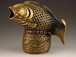 коробка богатства Скидка Китайская Латунь Медь Богатство Монета Голова Рыбы Голова Статуи Коробка Курильница Кадило