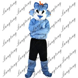 Wholesale Wolf Mascot Custom - 2018 New high quality blue wolf Mascot costumes for adults circus christmas Halloween Outfit Fancy Dress Suit Free Shipping012