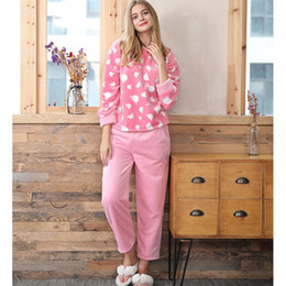 8f4102f1b4 2018 Women New Coral Velvet Sleepwear Set Polka Dot Flannel Velvet Pajamas  Female Home Clothing Winter Warm Long Sleeve Cozy