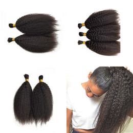 bulk hair dye Promo Codes - Malaysian Human Hair Kinky Straight Hair Bulk For Braiding 3 Bundles Silky Smooth Hair Natural Color Can Be Dyed FDSHINE