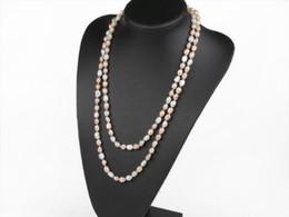 Canada Noué à la main naturel baroque rose blanc violet perle d'eau douce 120cm chaîne de chandail long collier bijoux de mode Offre