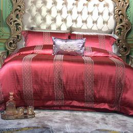 rotgold seidenbettwäsche set Rabatt Gold rot Luxus europäischen Stickerei Seide Baumwolle Bettwäsche Set Bettbezug Bettlaken Kissenbezug Königin King Size