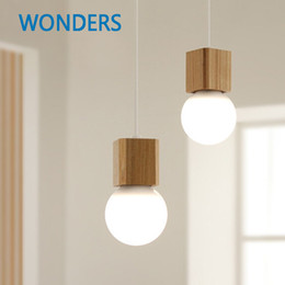 Wholesale light bulb cord socket - Northern Europe Vintage pendant Oak Wood Retro lamp 120cm wire E27 socket wood lamp holder Hanging light fixture without bulb