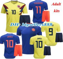 kolumbien fußball hemden Rabatt JAMES FALCAO 2018 WM Kolumbien gelb home fußball jersey kits VALDERRAMA CUADRADO TEO BACCA beste qualität weg blau fußball shirts
