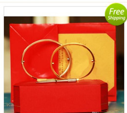Wholesale 14k Gold Couple Rings - 2018 Titanium Steel Love Bracelets silver rose gold Bangles Women Men Screw Screwdriver Bracelet Couple Jewelry with original box set