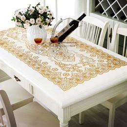 Länglicher tisch online-Luxus PVC Tischdecke Sonnenblumen Floral Tischdekoration Gold Pailletten Tischdecke Wasserdichte Tischauflagen für Theke / Tee Tabelle Oblong 0182