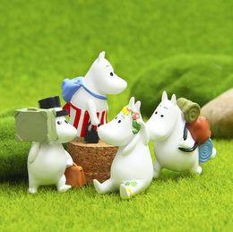 Wholesale Plastic Craft Ornaments - Hippo Moomin Miniature Figurine Fairy Garden Decoration Figure Home Cake Ornaments Cartoon Statue Resin Craft Toy Tnj043