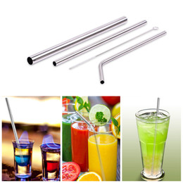 Wholesale drinks set - Stainless Steel Straw with Cleaner Brush Reusable High Quality 304 Stainless Steel Metal Straws Set For Bar drink straw