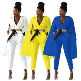Macacão de manga branca on-line-2018 Moda Outono Longo Mulheres Macacões com Capuz Profundo decote em v Mangas bolsos Elegantes Calças Ternos Azul Amarelo Branco Cores Imagem Real