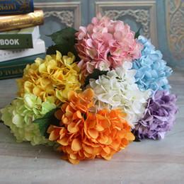 Wholesale Decorative Bouquets - Artificial Hydrangea Flower 6 Heads 47cm Fake Silk Flowers Hydrangeas Wedding Bouquets Party Decorative Home Decor