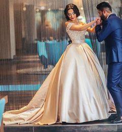 2019 vestido de novia de baile champán Sweetheart Off Hombros apliques de encaje satinado más tamaño Saudi Arab Prom Dresses Sweet 16 Dress 2018 Champagne Ball Vestidos de quinceañera rebajas vestido de novia de baile champán