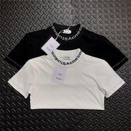 2018 Été Nouvelle Acne studios Gojina Teints T-shirt à Manches Courtes  Respirant Hommes Femmes mode Noir Blanc En Plein Air Streetwear T-shirts 44fc5cd4236