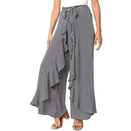 Pantalones cortos calientes online-Señoras de las mujeres del verano de rayas de pierna ancha pantalones de cintura alta pantalones largos ocasionales 2018 más nuevo estilo de venta caliente de moda