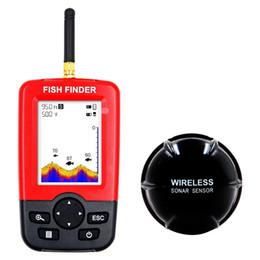 localizador de pesca sonar portátil Desconto Novo Portátil Sonar Sensor Fish Finder Sem Fio Wide white backlight LED LCD Fishfinder Detector De Peixe Top