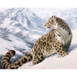 Wholesale Leopard Print Home Decor - Diy Digital Oil Painting By Numbers Craft Animals Snow Leopard Picture Paint on Canvas Drawing Home Decor