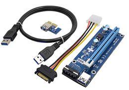 sata pci Desconto Novo 60 cm PCI-E PCIe PCI Express 1x a 16x Riser USB 3.0 Extender Cabo com Sata para 4Pin IDE Molex fonte de Alimentação para BTC Mineiro RIG OTH814