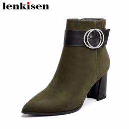 2019 scarpe popolari britanniche Lenkisen oxford vera pelle punta a punta zip popolare stile britannico stivaletti fibbia tacchi alti donna scarpe di grandi dimensioni L6f1 scarpe popolari britanniche economici