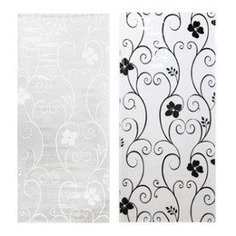 Wholesale Window Frosting Film - 45*100cm Frosted Opaque Glass Window Film Privacy Stickers Home Decor Black&white Glass Window Papers Wrought Iron Flower Props