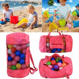 Wholesale nylon folding tote - Kids Beach Toys Receive Bag Folding Tote bag children backpack Storage Shell Beach Mesh Pouch 48*24cm baby Handbags 16 colors C3719