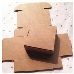 Wholesale Pc Assembly - 350gsm kraft brown packaging box easy assembly 70x70x30mm handmade gift paper package box 50pcs lot