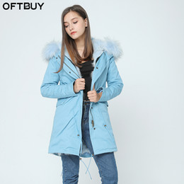 Wholesale Short Orange Fur Jacket - OFTBUY top quality brand 2017 new winter jacket coat women natural real large raccoon fur hooded parka women thick warm parkas