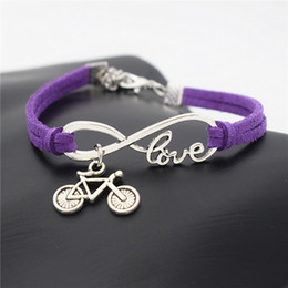 Wholesale chain set bike - AFSHOR European Popular Women Punk Silver Infinity Love Cute Bike Cycling Bicycle Charms Leather Bracelet for Women Men Summer Gift Jewelry