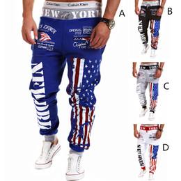 Wholesale Usa Suits - 2018 hot Jogger Pants Outdoors Men Fashion USA flag HIP HOP Harem Sweat Pants Men Trousers casual Sports wear mens track suit