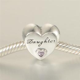 font incisione Sconti Fascino d'amore della figlia all'ingrosso S925 argento sterling spedizione gratuita H8
