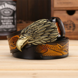 Wholesale Vintage Eagle - Fashion Eagle head man belt The First Layer Genuine Leather Men belts Brand Cowskin Fashion Vintage Male Strap Ceinture Designer belt