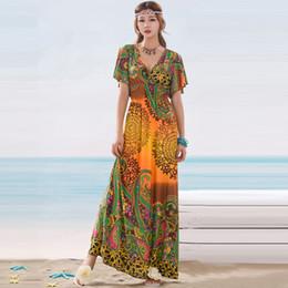 e56cab05b0 Vestido de verano de las mujeres bohemio mariposa manga elástica de la  cintura sexy con cuello en v estampado floral largo maxi dress estilo de la  india ...