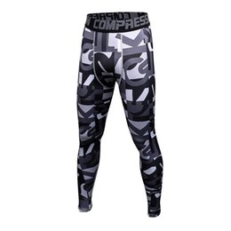 Wholesale large black tights - New mens camouflage compression tights Leggings Running sports Gym Fitness male trousers exercise bodybuilding Large size pants