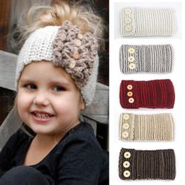 Wholesale Triple Bow - Knot Headband Winter Crochet Newborn Head wrap ear Warmer Knitted Bow Hair Band triple Buttons Kids Accessories